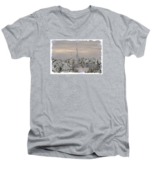 Men's V-Neck T-Shirt featuring the photograph Steeples In The Snow by Nadalyn Larsen