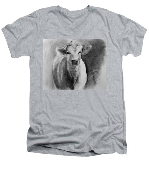 Steer- Drawing From Life Men's V-Neck T-Shirt by Michele Carter