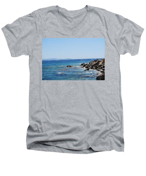 Men's V-Neck T-Shirt featuring the photograph Stiff Breeze by George Katechis