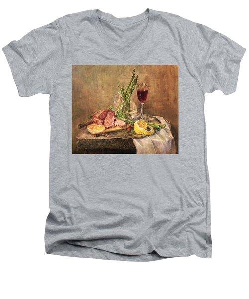Still Life With Asparagus Men's V-Neck T-Shirt