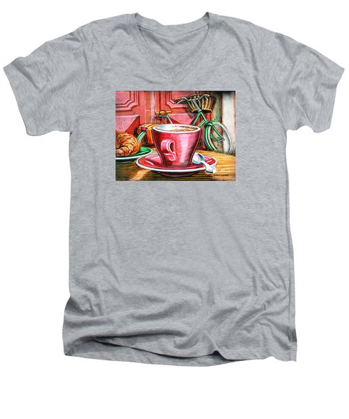 Men's V-Neck T-Shirt featuring the painting Still Life With Green Dutch Bike by Mark Howard Jones