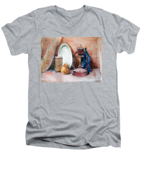 Men's V-Neck T-Shirt featuring the painting Still Life With Miners Lamp by Greta Corens