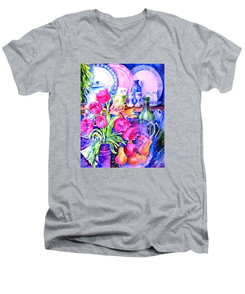 Still Life With Tulips  Men's V-Neck T-Shirt