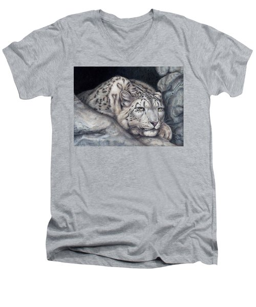 Men's V-Neck T-Shirt featuring the painting Stillnes Like A Stone by Pat Erickson