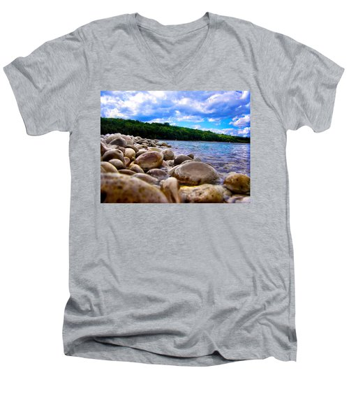Men's V-Neck T-Shirt featuring the photograph Stone Beach by Zafer Gurel