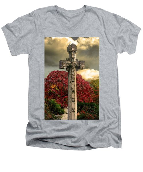Men's V-Neck T-Shirt featuring the photograph Stone Cross In Fall Garden by Lesa Fine
