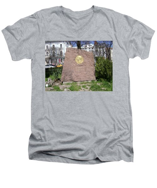Stone Engraving Men's V-Neck T-Shirt
