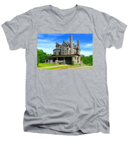 Men's V-Neck T-Shirt featuring the photograph Stone Mansion Blue Sky by Becky Lupe