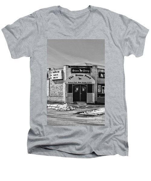 Stone Pony In Black And White Men's V-Neck T-Shirt by Paul Ward
