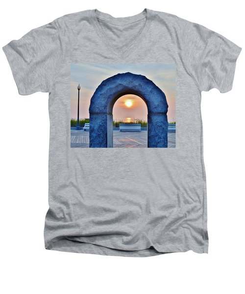 Sunrise Through The Arch - Rehoboth Beach Delaware Men's V-Neck T-Shirt