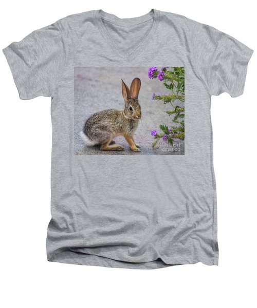 Men's V-Neck T-Shirt featuring the photograph Stop And Smell The Flowers by Tammy Espino