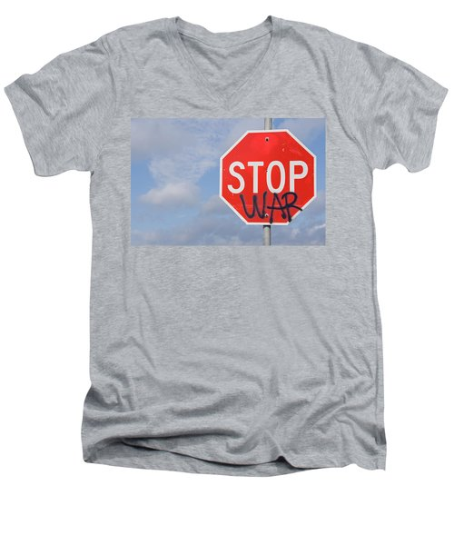Men's V-Neck T-Shirt featuring the photograph Stop War Sign by Charles Beeler