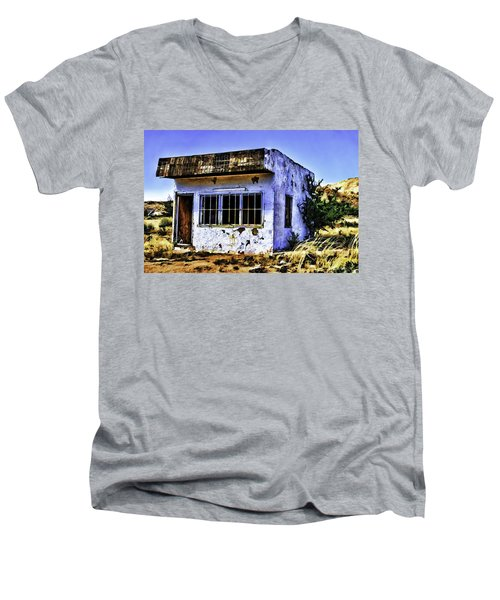 Men's V-Neck T-Shirt featuring the painting Store by Muhie Kanawati