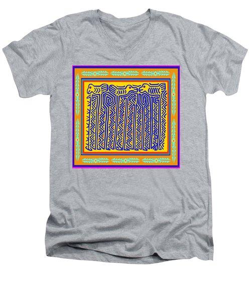 Men's V-Neck T-Shirt featuring the digital art Storks by Vagabond Folk Art - Virginia Vivier