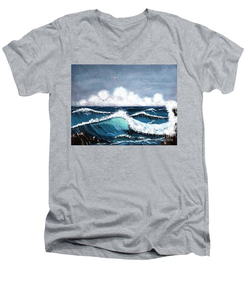 Storm At Sea Men's V-Neck T-Shirt by Barbara Griffin