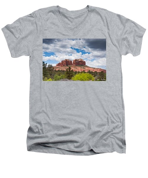 Storm Clouds Over Cathedral Rocks Men's V-Neck T-Shirt by Jeff Goulden