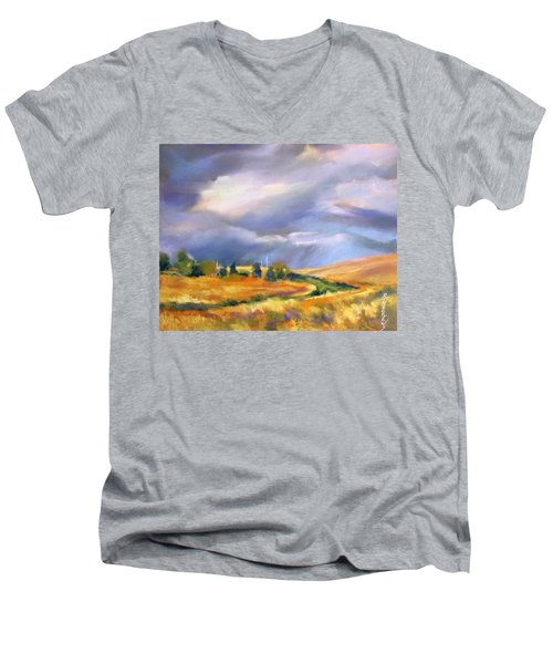 Men's V-Neck T-Shirt featuring the painting Storm Colors by Rae Andrews
