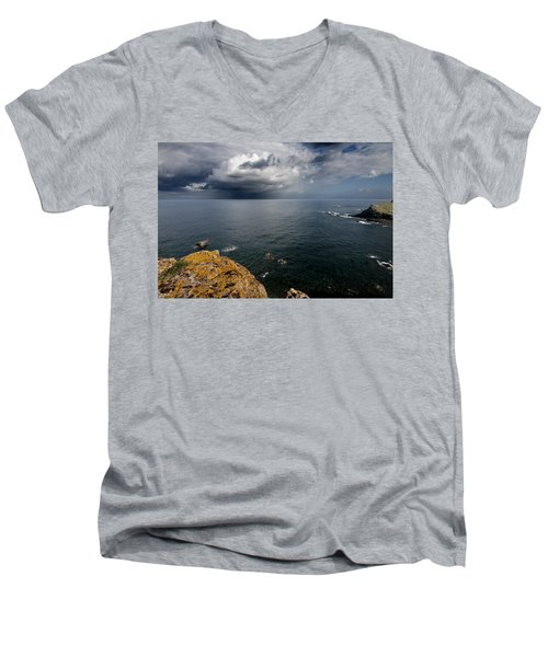 A Mediterranean Sea View From Sa Mesquida In Minorca Island - Storm Is Coming To Island Shore Men's V-Neck T-Shirt by Pedro Cardona