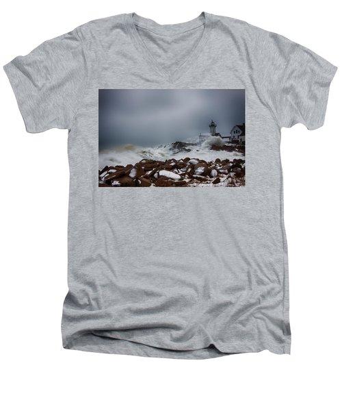 Storm Off Eastern Point Lighthouse Men's V-Neck T-Shirt