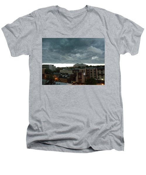 Storm Over West Chester Men's V-Neck T-Shirt by Ed Sweeney