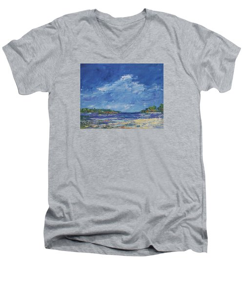 Stormy Day At Picnic Island Men's V-Neck T-Shirt by Gail Kent