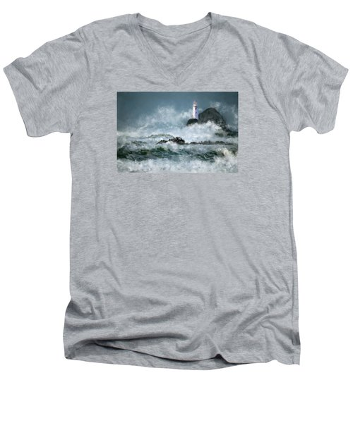 Stormy Seas Men's V-Neck T-Shirt by Michael Malicoat