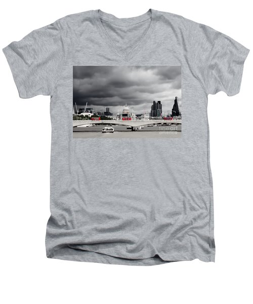 Stormy Skies Over London Men's V-Neck T-Shirt