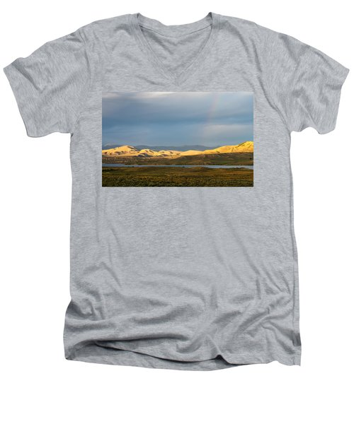 Stormy Sky With Rays Of Sunshine Men's V-Neck T-Shirt by Nadja Rider