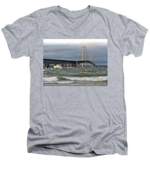Stormy Straits Of Mackinac Men's V-Neck T-Shirt