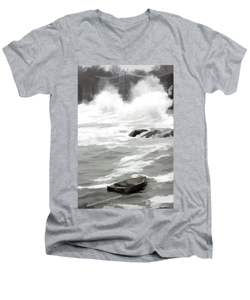 Men's V-Neck T-Shirt featuring the photograph Stormy Waves Pound The Shoreline by Jeff Folger