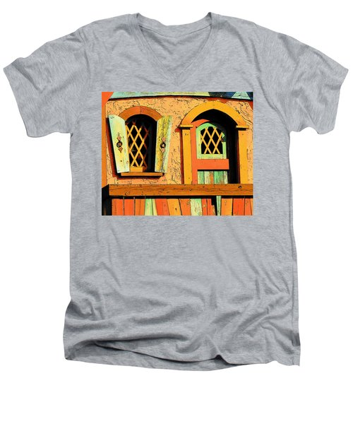 Storybook Window And Door Men's V-Neck T-Shirt by Rodney Lee Williams