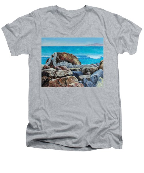 Men's V-Neck T-Shirt featuring the painting Stranded by Susan DeLain