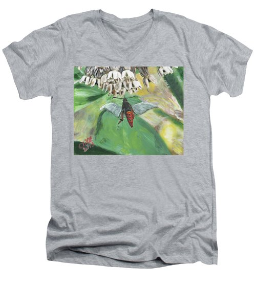 Strange Bug At Flowers Men's V-Neck T-Shirt