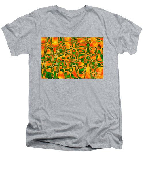Men's V-Neck T-Shirt featuring the photograph Strange Hieroglyphs by Mark Blauhoefer