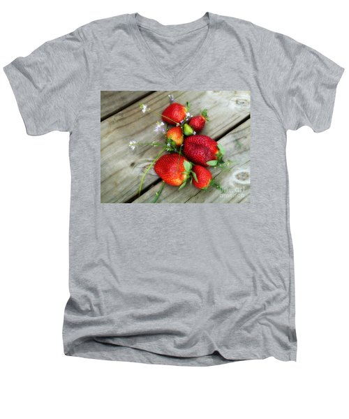 Men's V-Neck T-Shirt featuring the digital art Strawberrries by Valerie Reeves