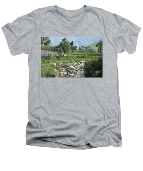 Stream Trees House And Mountains Swat Valley Pakistan Men's V-Neck T-Shirt by Imran Ahmed