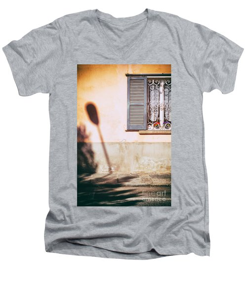 Men's V-Neck T-Shirt featuring the photograph Street Lamp Shadow And Window by Silvia Ganora