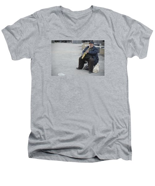 Men's V-Neck T-Shirt featuring the photograph Street Musician - The Gypsy Saxophonist 3 by Teo SITCHET-KANDA