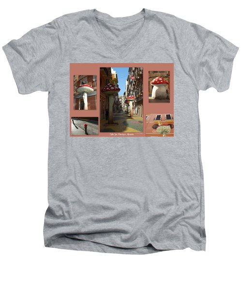 Street Of Giant Mushrooms Men's V-Neck T-Shirt
