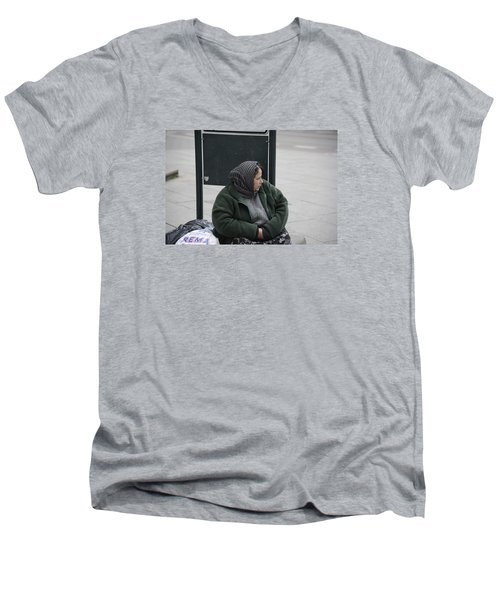 Men's V-Neck T-Shirt featuring the photograph Street People - A Touch Of Humanity 9 by Teo SITCHET-KANDA