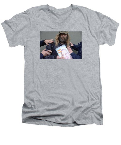 Men's V-Neck T-Shirt featuring the photograph Street People - A Touch Of Humanity 12 by Teo SITCHET-KANDA