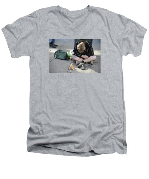 Men's V-Neck T-Shirt featuring the photograph Street People - A Touch Of Humanity 8 by Teo SITCHET-KANDA