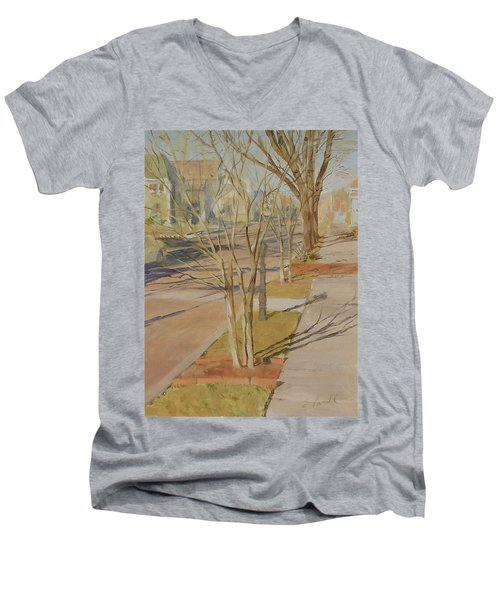 Street Trees With Winter Shadows Men's V-Neck T-Shirt