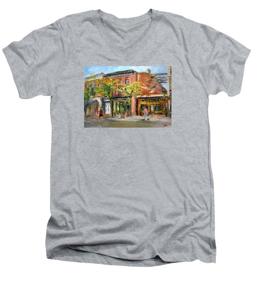Men's V-Neck T-Shirt featuring the painting Street View by Jieming Wang