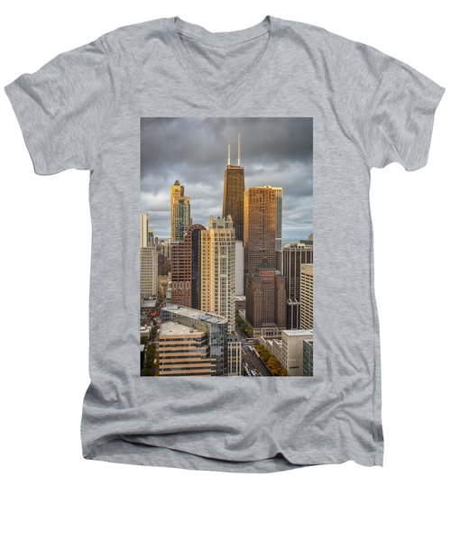Streeterville From Above Men's V-Neck T-Shirt by Adam Romanowicz