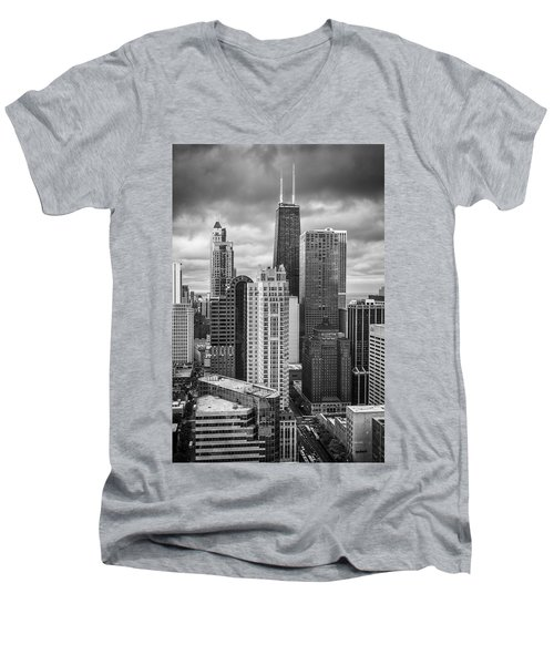 Streeterville From Above Black And White Men's V-Neck T-Shirt by Adam Romanowicz