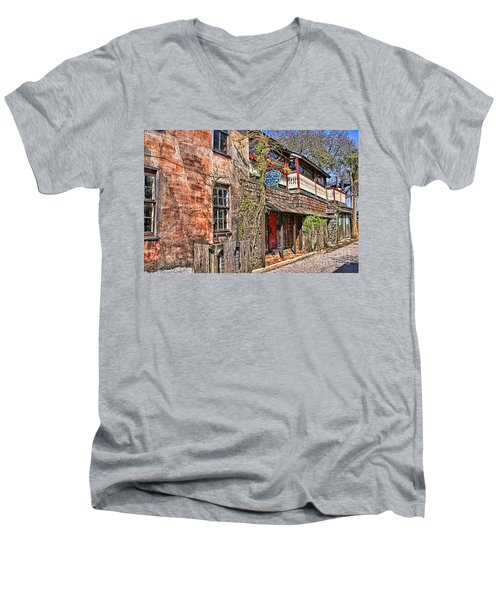 Men's V-Neck T-Shirt featuring the photograph Streets Of St Augustine Florida by Olga Hamilton