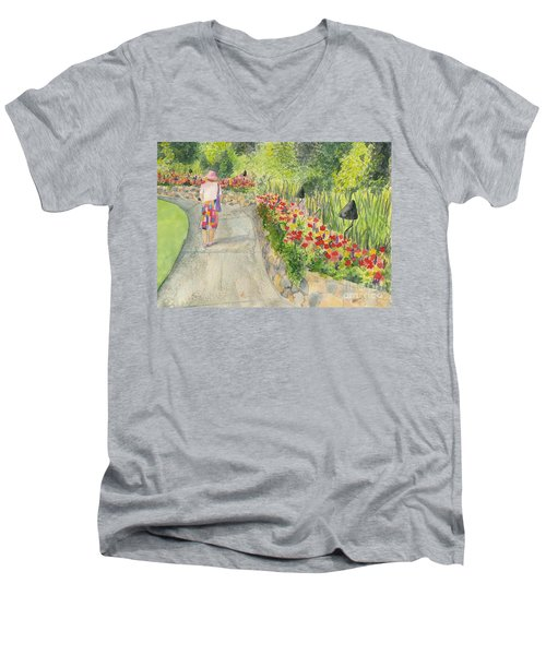 Men's V-Neck T-Shirt featuring the painting Strolling Butchart Gardens by Vicki  Housel