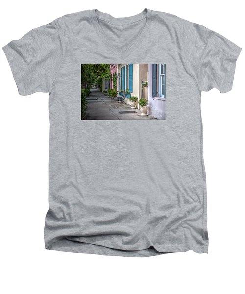 Strolling Down Rainbow Row Men's V-Neck T-Shirt