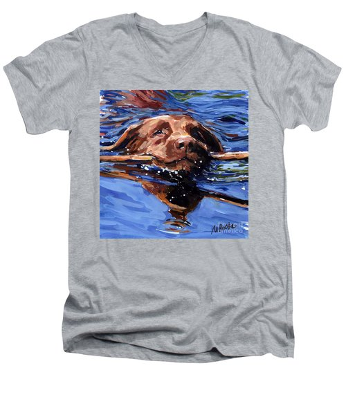 Strong Swimmer Men's V-Neck T-Shirt by Molly Poole